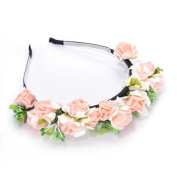 Floral Crown Garland Headband Bohemia Bohemia Stylish Flower Decor Hairstyle Hair Band Hair Hoop for Women Girl Wedding Flowers Hairband Accessory for Party Wedding Festival