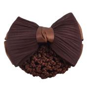 sourcingmap Polyester Bowknot Decor Woman Snood Net Hair Clip Barrette Coffee Colour