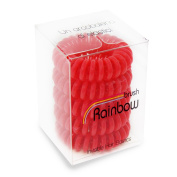Rainbow Brush Plastic Elastic Invisible Hair, Red - Set of 5 Pieces