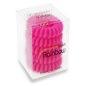 Rainbow Brush Elastic Invisible Hair in Plastic, pink - Set of 5 Pieces