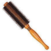 SUPRENT Natural Boar Bristle Round Hair Brush with Ergonomic Natural Wood Handle, 5.1cm , for Hair Drying, Styling, Curling, Adding Hair Volume