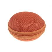 Water & Wood 1pcs Cute Round Hard Storage Orange Case for Earphone Headphone Earbuds