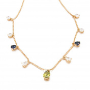 Romantic Time 18k Rose Gold Best Friend Diamond Teardrop Pendant Necklace