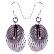 BEAUTIFUL HANDMADE THAI LEAF EARRINGS PURE SILVER By KAREN HILLTRIBE