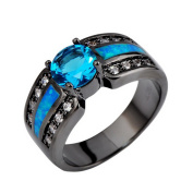SKCUTE Jewellery Aquamarine White CZ Ocaen Blue Fire Opal Black Gold Filled Engagement Rings