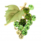 Multi Green Bunch Of Grapes Crystal Pin Brooch