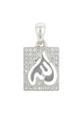 Rectangular Sterling Silver Allah Pendant Micro-set with Cubic Zirconia Stones