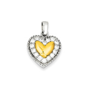 Sterling Silver & Gold Plating Cz Heart Pendant, Best Quality Free Gift Box Satisfaction Guaranteed