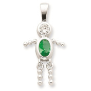 925 Sterling Silver August Glass Birth Month Stone & CZ Boy Polished Charm Pendant