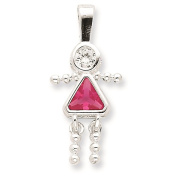 925 Sterling Silver October Glass Birth Month Stone & CZ Girl Polished Charm Pendant