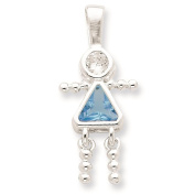 925 Sterling Silver March Glass Birth Month Stone & CZ Girl Polished Charm Pendant