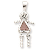 925 Sterling Silver June Glass Birth Month Stone & CZ Girl Polished Charm Pendant
