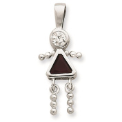 925 Sterling Silver January Glass Birth Month Stone & CZ Girl Polished Charm Pendant