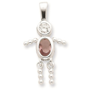 925 Sterling Silver June Glass Birth Month Stone & CZ Boy Polished Charm Pendant