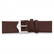 17mm Flat Brown Leather Silver-tone Buckle Watch Band