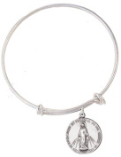 Child's Silver Tone Bangle Bracelet with Pewter Miraculous Medal, 17cm