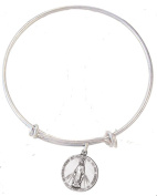 Silver Tone Bangle Bracelet with Pewter Our Lady Miraculous Medal, 19cm