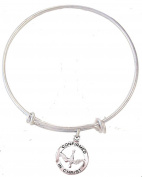 Silver Tone Bangle Bracelet with Pewter Confirmation Medal, 19cm