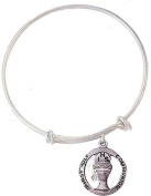 Child's Silver Tone Bangle Bracelet with Pewter First Communion Medal, 17cm
