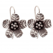 Flower Karen Hill Tribe Design Earring Pure Silver