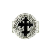 Vatican Library Collection Stretch Black Enamel Cross Silver Tone Ring