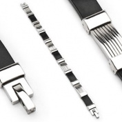 "316L Stainless Steel & Rubber Bracelet - Length 8.46"" (215mm) - Width 9mm"