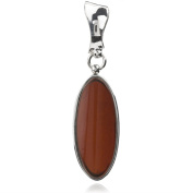 Sterling Silver Red Dark Amber Oval Pendant
