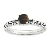 Sterling Silver Stackable Expressions Tigers Eye Antiqued Ring