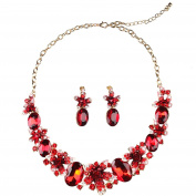 SunIfSnow Women Wedding Party Bridal Colour Red Crystal Gem Flower Necklace & Earring