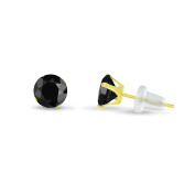 Solid 10k Yellow Gold Round 4mm Simulated CZ Birthstone Stud Earrings