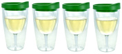 Southern Homewares Insulated Vino Double Wall Acrylic with Verde Drink Through Lid Wine Tumbler (Set of 4), 300ml, Verde