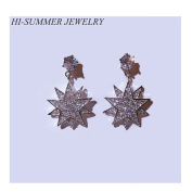 Helen de Lete Shining Diamond Star Sterling Silver Stud Earrings