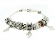 Love and Hope Detailed Artistic Charm Bracelet Silver Tone Red Accent
