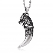 Ashley Jeweller Men's Stainless Steel Pendant Necklace Silver Tone Oxidised Dragon Wolf Tooth