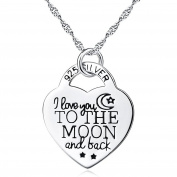 ASTRO Silver Mountain 925 Sterling Silver I Love You to the Moon and Back Heart Shape Pendant Necklace