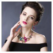 Hamer Women's Multi-colour Big Crystal Flowers Statement Choker Necklace and Earrings Sets for Women