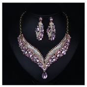 Hamer Women's Pink Crystal Statement Pendant Choker Necklace and Earrings Sets Fashion Jewellery for Girls