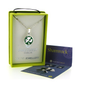 Silver Plated Pendant In Shamrock Design with Green Enamel Background