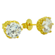 925 Sterling Silver Cubic Zirconia Gold-Tone Plated Heart Design Stud Earrings 10MM