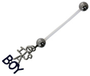 It's A Boy Blue Maternity Belly Bar 1.6 x 25 mm PTFE Can Be Shortened