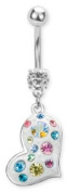 Trend Accessory Zone Piercing, Belly Bar, Heart White, Colourful Crystals, Weiss, 1.6 x 10 mm, Stainless Steel, Anti Allergen, No 160120