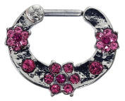 Septum Clicker Flowers with Pink Crystals Nose Ring Septum Piercing Jewellery Surgical Steel 16 Gauge (1.2 MM) Piercing