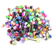 Yan & Lei .  100PC 14G Mixed Tongue Rings Barbells Body Piercing Jewellery Lot