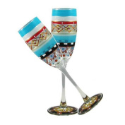Golden Hill Studio Champagne Flute Glasses Set of 2-Hand Painted in the USA by American Artists-Mosaic Carnival Collection