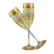 Golden Hill Studio Champagne Flute Glasses Hand Painted in the USA by American Artists-Set of 2-Mosaic Gold Garland Collection