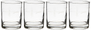 Rolf Glass Etched Fly Fishing Double Old Fashioned Glass (Set of 4), 380ml, Clear