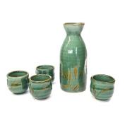 Happy Sales HSSS-GNRD25, 5 pc Green Reed Sake set