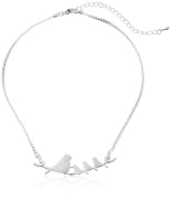 Mother and Baby Birds on a Branch Silver Pendant Necklace