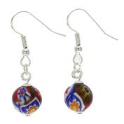 Murano Glass Murano Mosaic Millefiori Ball Earrings - Silver