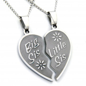 Big Sis Lil Sis Necklace - Big Sis & Lil Sis Break Apart Heart Pendant 2 Half Hearts (2) 46cm Chains